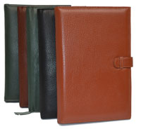 green, black, camel and tan leather junior pad holders